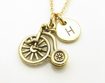 Bicycle Necklace, Bicycle Charm Necklace with Personalized Initial Letter, Penny Farthing High Wheel Bicycle, Sports Charm, Bike Charm Z150