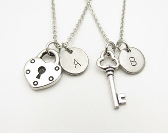 Lock and Key Necklaces, His and Hers Couple or Best Friend Pair of Necklaces, Silver Heart Shaped Lock and Key, Monogram Initials Y153