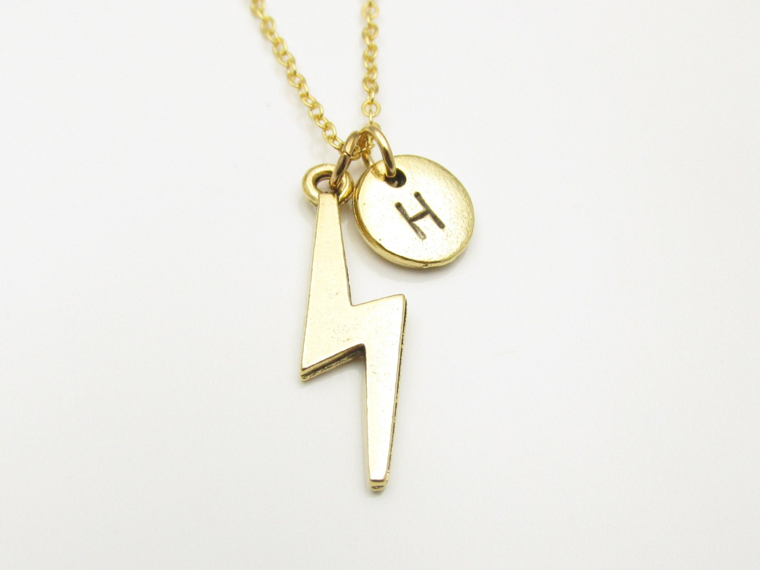 lightning bolt necklace personalized initial necklace gold