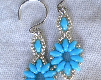 Earrings Turquoise Blue Flowers Hand Stitched Superduo Beads