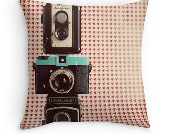 Throw Pillow Case : Vintage Camera Collection Houndstooth Red Black Blue Silver Mid Century Mad Men
