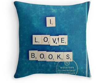 Throw Pillow Case : I Love Books Blue Scrabble Tiles Nerd Librarian Bibliophile Read Smart Vintage Dictionary