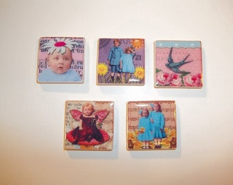 Children and Flowers---Magnet Set-Magnets