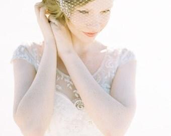 Wedding Veil, Birdcage Veil, Beaded Veil, French Netting, Wedding Hair Accessory, Short Veil, Ivory Veil - Style 415