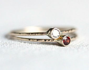 Select Two Birthstones - Set of Two 14k Gold Gemstone Stacking Rings - Solid 14k Gold - Rose or White or Yellow Gold - Delicate Mothers Ring