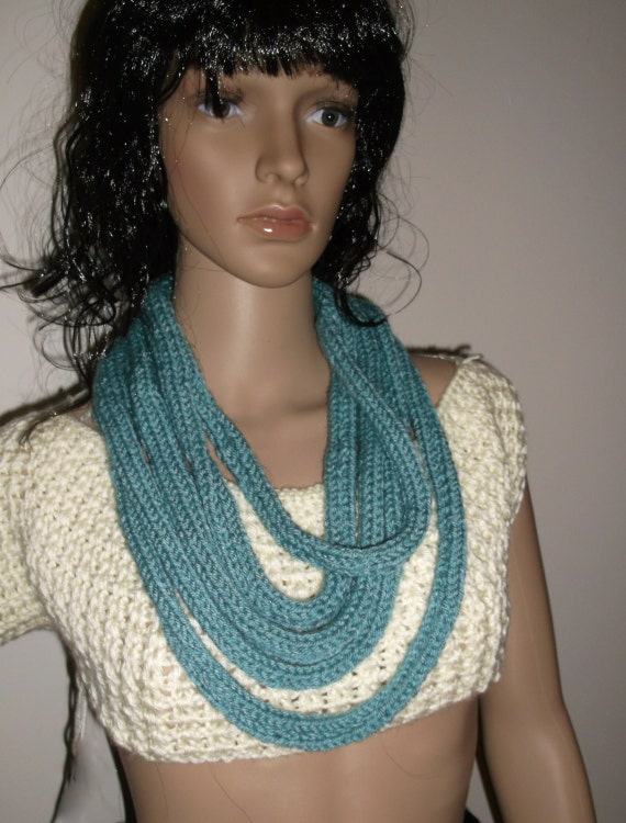 NEW - Strings in Arctic Blue, Circle Scarf, Infinity Scarf