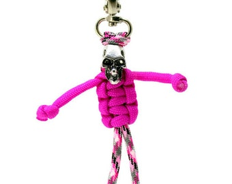 Zipper Zombie, Paracord Zipper Pull, Paracord Keychain - Pink Skeleton, Paracord Skeleton, Skeleton Parabuddy