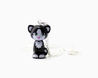 Kitten Necklace, White and Black, made from New Kitten LEGO® Piece, Cat Necklace