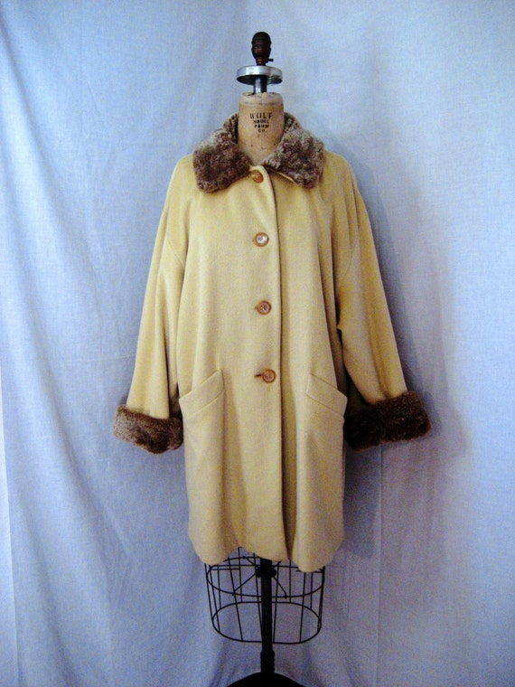 Vintage Cashmere Coat with Shearling Trim. Searle label.