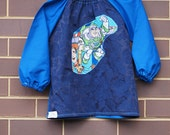 Child's art smock -  age 3 to 4 - blue smock with Buzz Lightyear