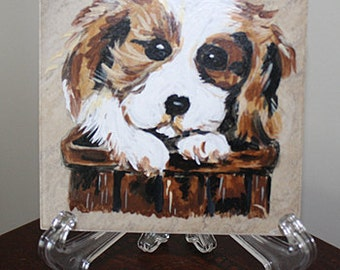 Painting on a tile-Puppy in a Basket