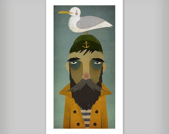 FISHERMAN and SEAGULL Sailor Nautical Print Signed