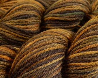 Hand Dyed Yarn - Aran Weight Superwash MCN (Merino Wool / Cashmere / Nylon) Yarn - Chestnut Multi - Knitting Yarn, Wool Yarn, Brown Worsted