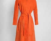 1970s vintage Halston orange ultrasuede dress * tie belt * 70s vintage dress *  70s designer * true Halston
