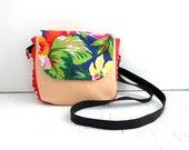 Crossbody Bag, Hawaiian / everyday bag, cross body purse, fabric handbag, fabric purse, small crossbody bag, vegan purse, crossbody purse