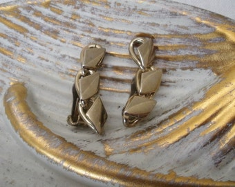 Vintage Gold Tone Geometric Clip Earrings