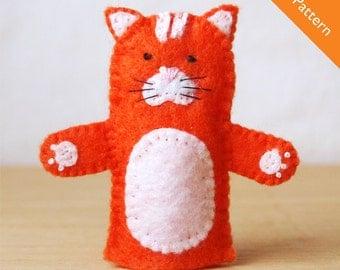 Cat felt pattern, cat, felt finger puppet pattern, puppet template, quiet book, cat puppet, cat finger puppet, felt puppet, PDF pattern