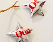 Dad Diet Coke Stars Christmas Ornaments  Soda Can Upcycled Coca Cola, Silver Red
