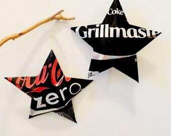 Grillmaster Coke Zero Stars Christmas Ornaments  Soda Can Upcycled Coca Cola