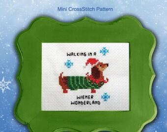 Dachshund Wiener Wonderland Cross Stitch Pattern PDF