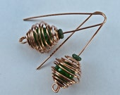 Coiled Earrings in Copper, Green beaded Earrings, Holiday Earrings, Caged Beads, Gift for Her, Gift under 20
