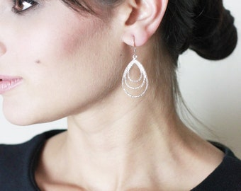 The Audry Triple Loop Teardrop Earring // Silver Finish // Blackbird Jewelry Collection {E003-S}
