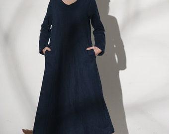 linen maxi dress, loose dress, loose fit dress, linen dress woman,casual dresses, blue dress, linen clothing, oversized dress (1148)