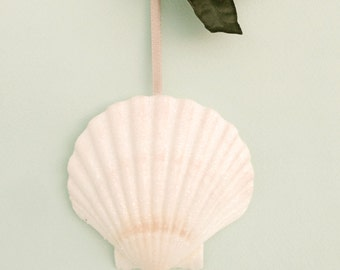 "Beach Ornament - Large Glittered Shell Christmas Ornament - 3.5""-4"""