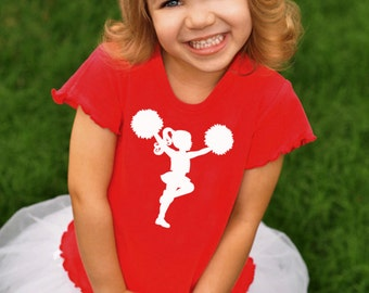 Little Cheerleader Nostalgic Graphic Tee in Short Lettuce Sleeves - Red with White