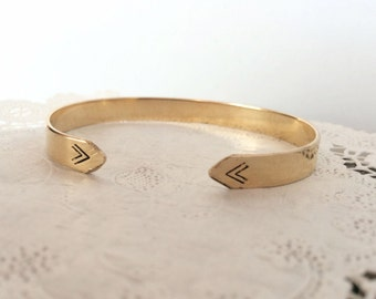 Hand-cut Metal | Brass or Silver | Adjustable | Stamped Double Triangle Arrow Bracelet | B90015