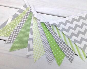Bunting Fabric Banner, Fabric Flags, Nursery Decor, Home Decor, Birthday Decoration, Baby Shower - Green, Grey, Gray, Chevron, Gingham, Dots