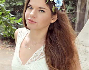 Flower crown, blue floral headband, wildflower head piece, wedding crown, hair accessory by Gardens of Whimsy on Etsy - Eventide
