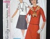 Vintage Sewing Pattern Women's/Teens 60's Simplicity 5585, Blouse, Skirt (XS)
