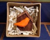 Bird (orange) in birdhouse Magnet