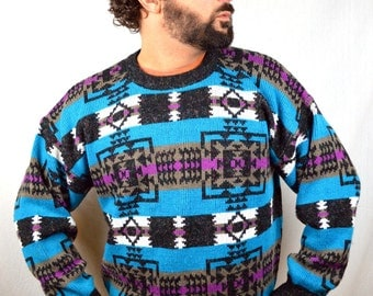 Vintage 80s Rainbow Geometric Sweater
