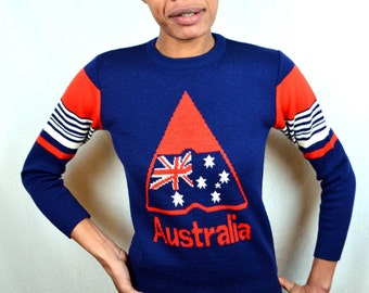 Awesome 80s Vintage Australia Flag Knit Wool Sweater