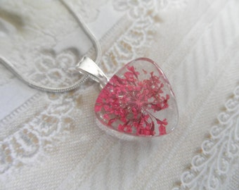Pink Queen Anne's Lace Pressed Flower Petite Glass Triangle Pendant-Nature's Wearable Art-Gifts Under 25-Symbolizes Peace