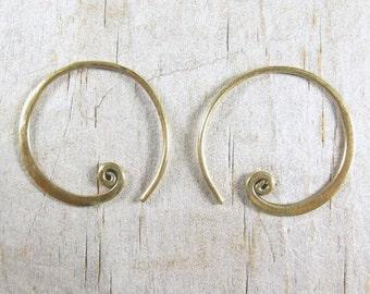 Spiral Hoop Earrings - Bronze Earrings - Small Hoop - Gold Hoops SALE