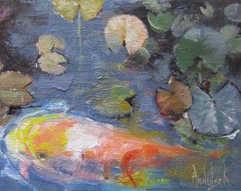 Wall Art, Framed Wall Art, FRAMED Ready to Hang Art, Koi Fish Art, Miniature Painting, Koi Art 'Koi' by AndolsekArt
