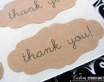 60 thank you stickers decorative shape, brown kraft paper, envelope seals, wedding favors (S-58)