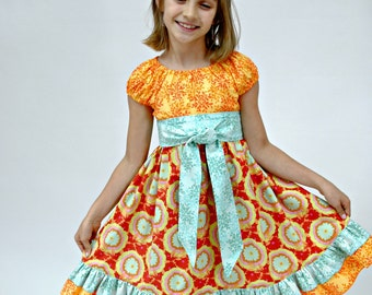Girl's Peasant Dress, Girls dresses, Toddler Dress, Red, Orange, Blue, Birthday Party Dress, peasant dress, size 18 mos. 2 3 4 5 6 7 8