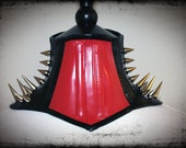 Spike Black & Red Latex Steel Boned Neck Corset Posture Collar - sample READY TO SHIP