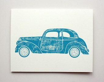 Greeting Cards - Transport Theme - BLUE AUTO - Original Screenprinted Art