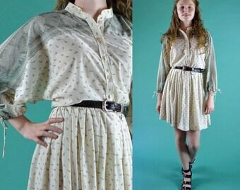 Vintage 70s Dress SHEER Mini Dress RETRO Border Print Full Skirt Day Dress Long Dolman Sleeve Shirtwaist Button Boho Dress S / M