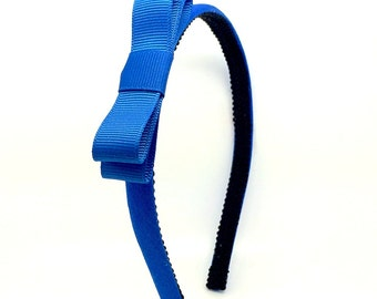 Cobalt Blue Bow Headband - Skinny Headband Solid Cobalt Blue w/ Bow, Little Girl Headband, Adult Headband - Simple Bow Skinny Headbands