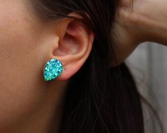 Bubbly Glitter Green Post Stud Earrings.