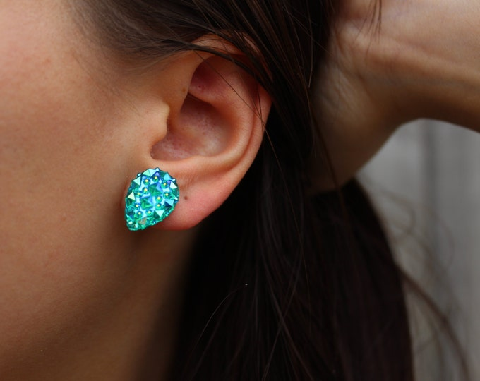 Bubbly Glitter Green Post Stud Earrings.