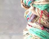 Double skein Handspun Yarn both 2ply super soft bulky chunky Merino Wool 94yds, 78m, 60g, 7/8wpi AQUA SHINE DUO Ref 23