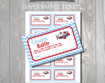 DIAPER RAFFLE TICKETS - Printable Baby Shower Raffle Tickets - Airplane Baby Shower - Instant Download - Plane Printable Shower Games