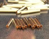 Long Gold Brass Tube Metal Beads 40 Pcs  16x2mm